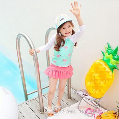 Ins fashion hot selling girl kids one piece Romper bikini summer girl cute Flamingo Print Swimming clothes 2 styles free ship
