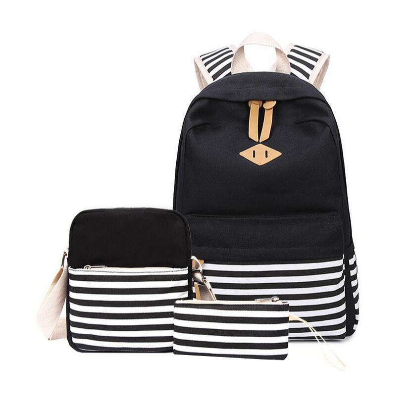 598e7635e2 Black And White Stripe Vintage Canvas Backpack Girl Schoolbag Kids Backpack  School Bags For Girls Shoulder Bag Pencil Case Y18100705 Personalized  Backpack ...