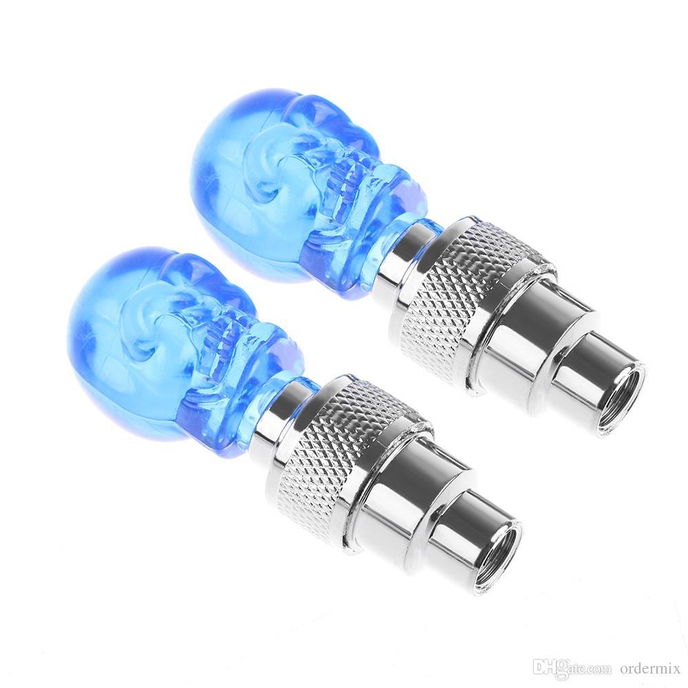 Creative Car Bike Blue Stunning Skull LED Valve Tire Lights Warning Lamp Wholesale