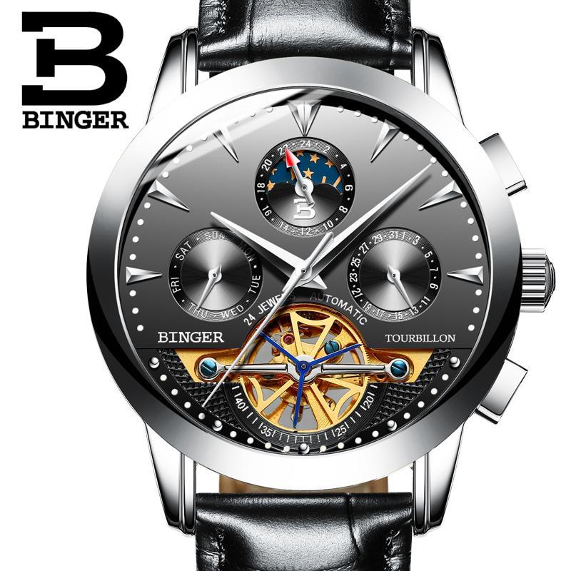 6fe6ee151d6 Compre 2017 Suíça Relógio De Luxo Dos Homens Marca Binger Mecânica Relógios  De Pulso De Safira Relógio De Aço Inoxidável Completa B1188 2 De  A799956998