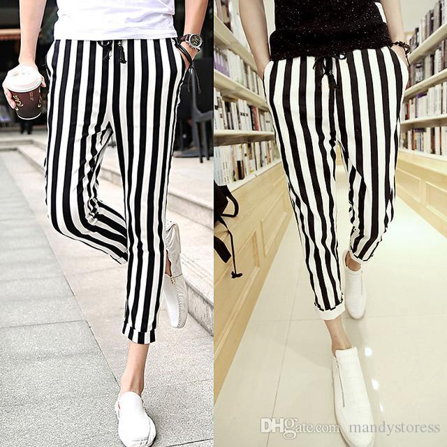 2bb4fc0d7f10 2019 Wholesale Men Black And White Mens Casual Pants Leggings Zebra Print  Vertical Stripe Pants SLIM FIT TROUSERS From Mandystoress, $24.23 |  DHgate.Com