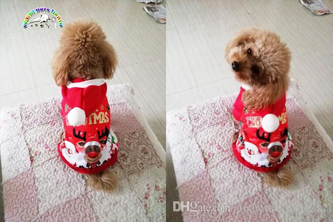 Christmas Dog Costumes.6 Size Red Christmas Dog Clothes Santa Doggy Costumes Clothing Pet Apparel New Design Pet Puppy Hoodied Sweatshirts