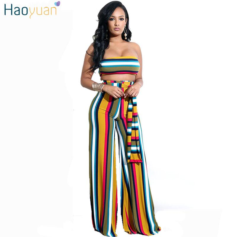 86bfd4c5c7e3 2019 HAOYUAN Two Piece Set Striped Sexy Jumpsuit Strapless Sashes Wide Leg  Pants Club Party Overalls Body Rompers Womens Jumpsuit From Carawayo