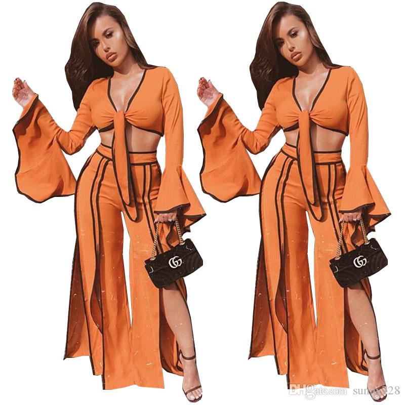 6280ba285117f 2019 Orange And Black Split Fashion Women Two Piece Pants Suits 2018 Sexy  Deep V Neck Puffy SleevesShort T Shirt And Long Trousers Lady Outfits From  ...