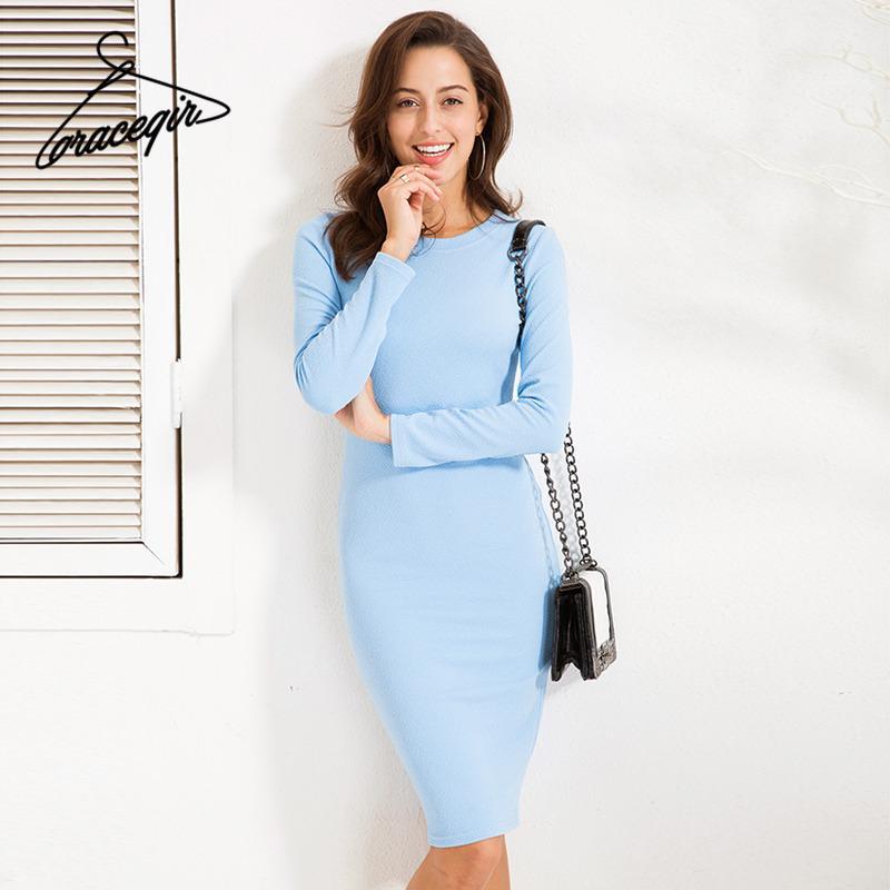 cac4ed4bbd Compre Gracegirl 2017 Otoño Vestidos De Las Mujeres Serie Invierno Casual  Textura Sólida Tela Gruesa Vestido Midi Básico Para Las Mujeres Vestido  Kw173019 A ...