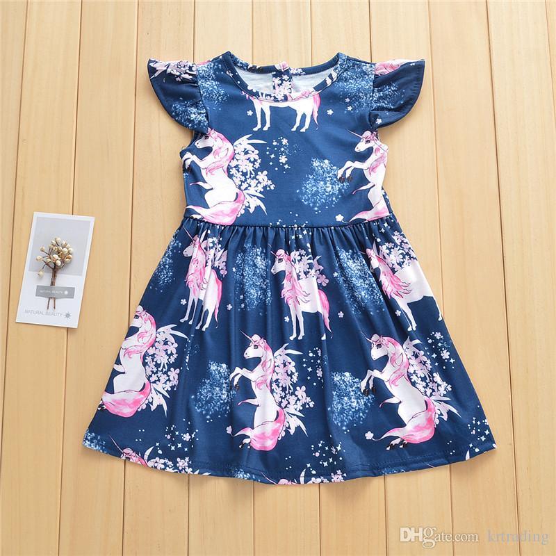 b91b7a564 Niñas imprimir princesa de unicornio vestidos 1-5T niños verano falda de  manga voladora de dibujos animados de hadas de animales patrón de ropa
