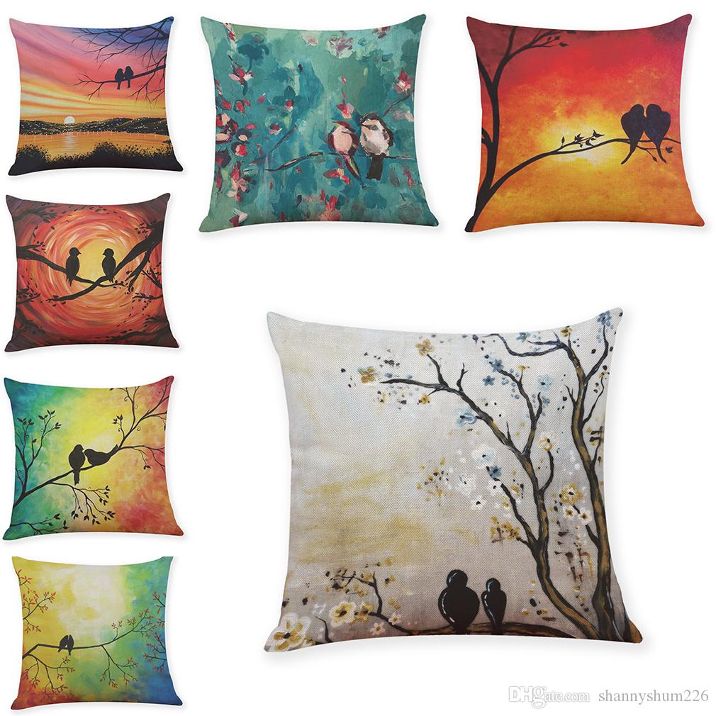 Birds Flowers Linen Cushion Covers Home Office Sofa Square Pillow Case Decorative Pillow Covers Without Insert(18*18Inch)