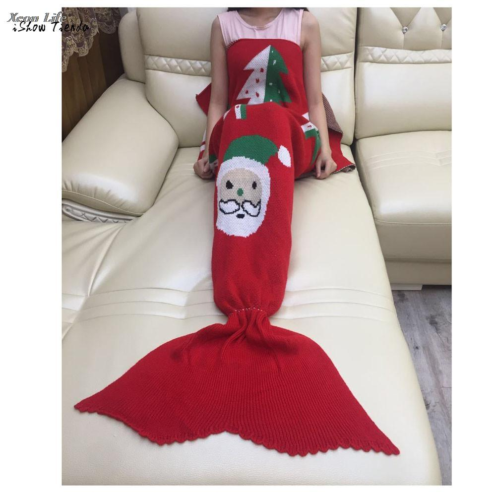 ISHOWTIENDA New 180 90cm Christmas Knitted Mermaid Tail Blanket Handmade  Crochet Throw Adult Bed Wrap Sleeping Bag Scarf Down Lap Throw Navy Blanket  Throw ... d43650cdd