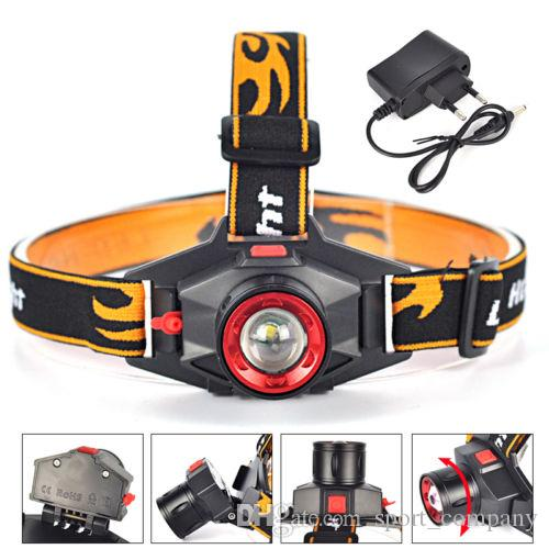 Rechargeable XPE Q5 LED Zoom Headlamp Headlight 1000lumens 3 Modes Head Light Torch Lamp Built-in Lithium Battery Headlight + Charger