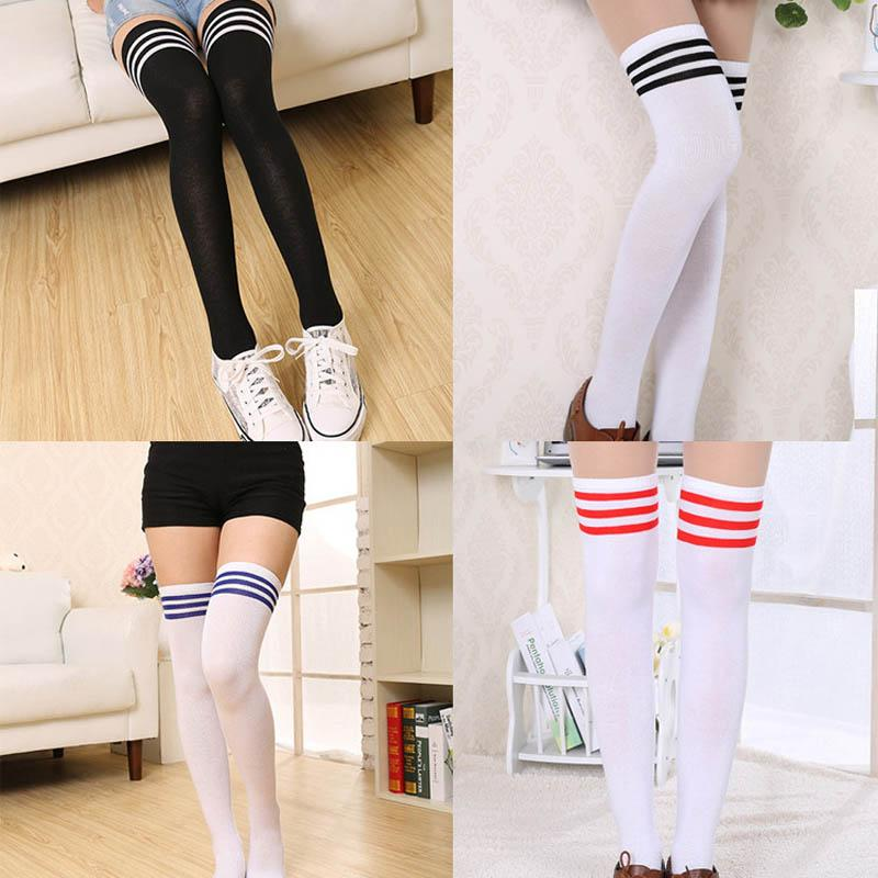 7f2880873c0 2019 Sexy Long Striped Knee Socks Women Cotton Stockings Thigh High Over  Knee Socks For Ladies Girls Warm Long Stocking Sexy Medias From  Bingquanwat