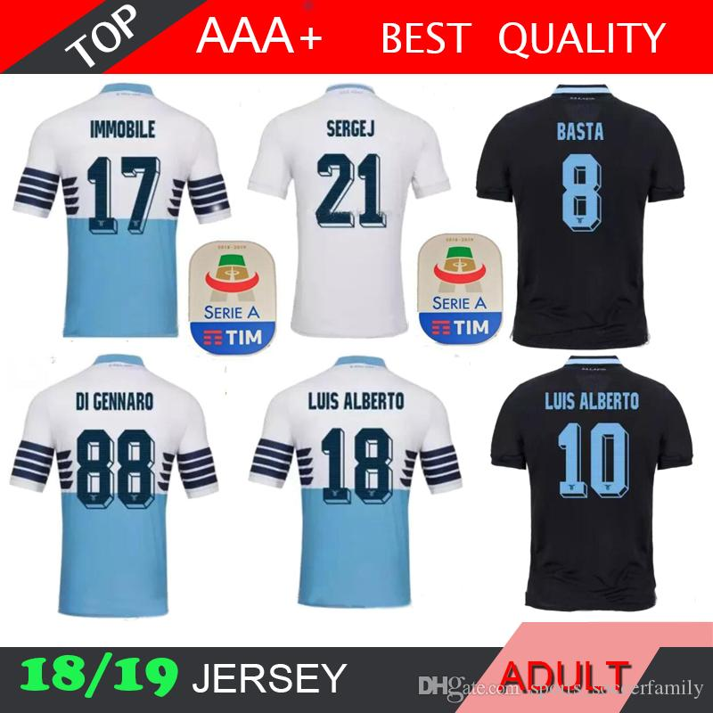0e94f4c46 2019 2019 Lazio Home Blue 2018 Soccer Jersey 18 19 Lazio Soccer Shirts Away  IMMOBILE SERGEJ 3rd LULIC #10 LUIS ALBERTO Football Shirt On Sales From ...
