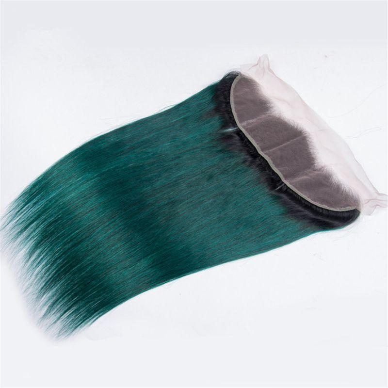 # 1B / Green Ombre 레이스 정면 클로저 및 번들 다크 루츠 Green Ombre 브라질 스트레이트 버진 인간의 머리카락이 레이스 프론트