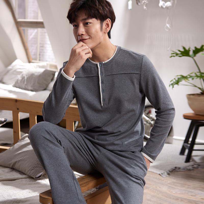 2019 Autumn 100% Cotton Mens Pyjamas Couple Pajamas Set Casual Sleepwear  Masculine Pyjamas Nightgowns Size 3XL Home Clothing From Odelettu c42cea035