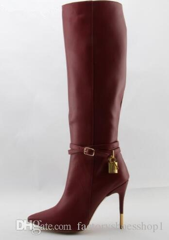 2018 Fall Hot Sale Women Fashion Red Wine Genuine Leather Zipper Pointed Toe Knee High Boots Stiletto Heels Gold Lock Long Boots