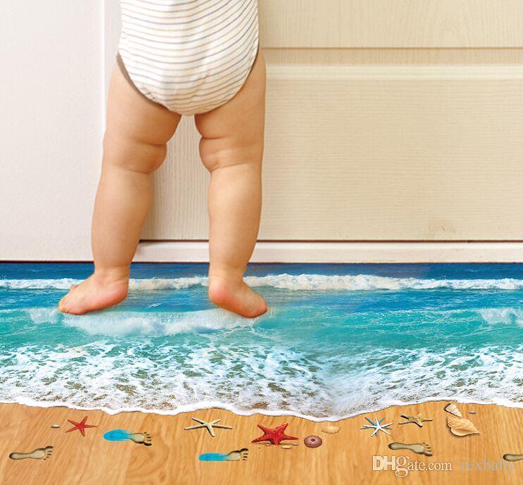 Romantik Deniz Plaj Zemin Sticker 3D Simülasyon Plaj Ev Dekor Çıkartması Dekorasyon Banyo Yatak Odası Oturma Odası Zemin Duvar Sticker için