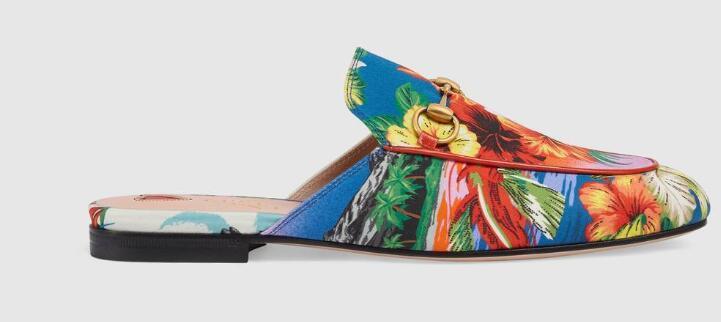 Nuova venduto in tutto il mondo classico 2019 Donna Pantofole pantofole con stampa hawaiana in raso Ciabatte in  pelle vera Princetown Pantofole ricamate Sandali Pantofole Scarpe mocassini