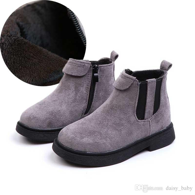cd8a8a0e1ae71 Acheter Hiver Enfants Bottines Enfants Martin Botte Ajouter Velours  Chaussure Enfant Chaussures Chaudes Pour Garçon Filles Botas Chaussures  2018   25 De ...