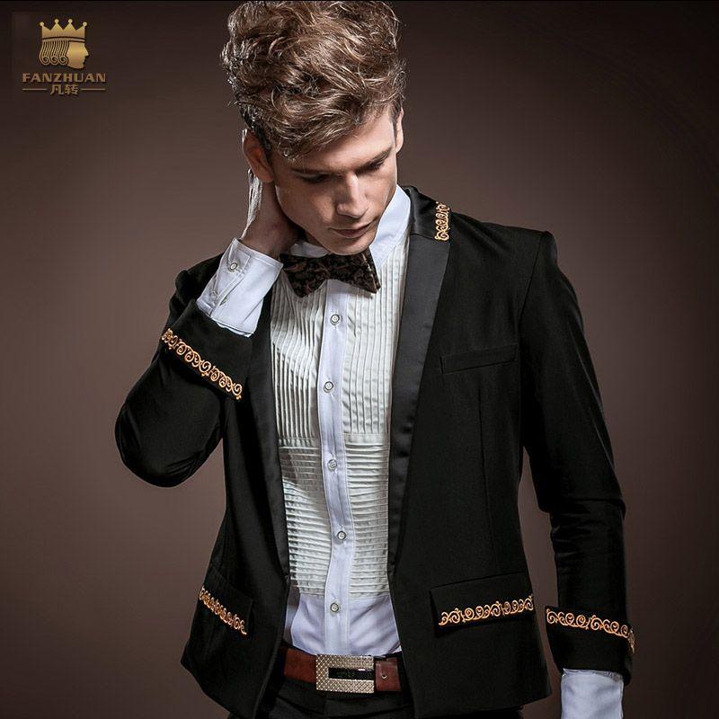 Acquista FANZHUAN Gotico Abbigliamento Uomo Slim Fit Blazer Nuovo Arrivo  Fashion Party Uomo Ultra Sottile Giacca Smoking Smoking Abiti Da Sposa  Giacca A ... 1c1ca2b5c5e