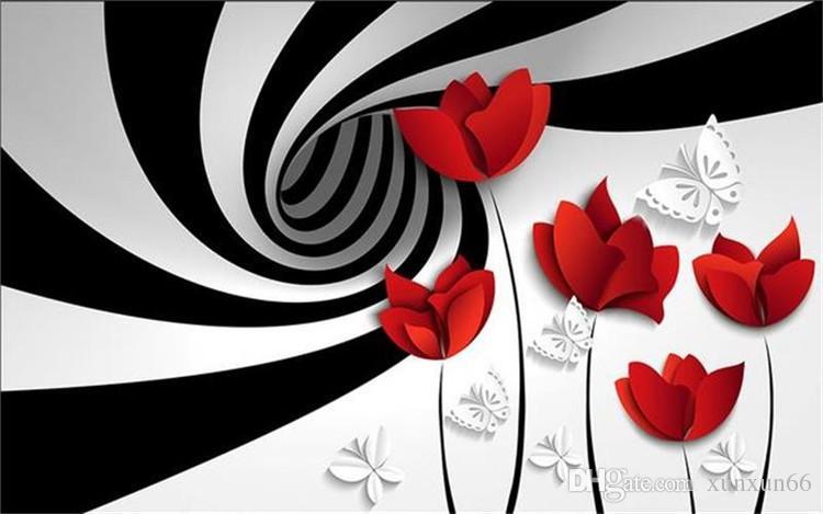 사용자 정의 사진 3D 벽지 비 짠 벽화 블랙 화이트 줄무늬 꽃 장식 그림 벽 3d 벽 벽화 벽지 3d