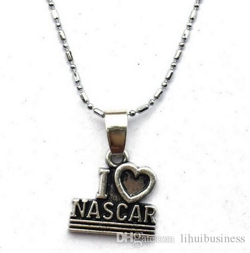 10pc/lot 2 Style I Heart Love Nascar Racing/CheckeredRacing Flag Lariat Necklace-Motocross Auto Racing Olympics Car Races drop sale new hot