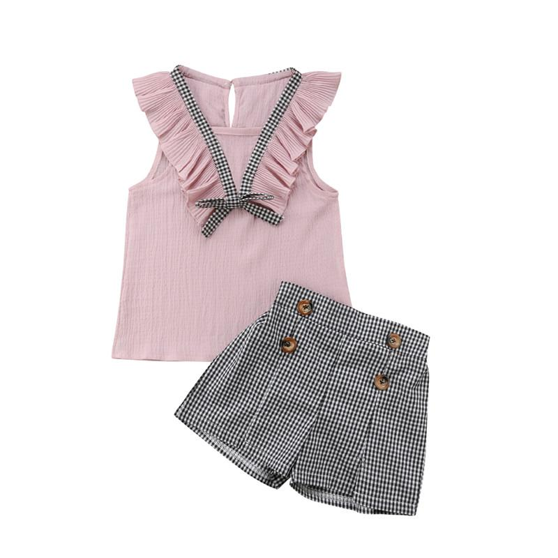 a9a70435 2019 Kids Children Baby Girls Clothes Set Summer Ruffle Sleeveless Tops T  Shirt Plaids Shorts Girl Clothing OL Cute 2 7 Years From Sophine14, ...