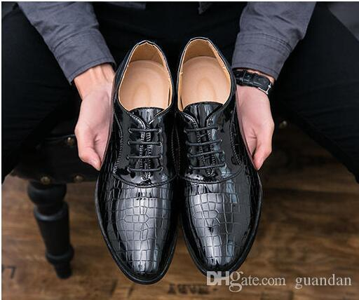 Men's Shoes Shoes Men Shoes Patent Leather Formal Dress Fashion Snake Skin Desinger Italian Glossy Male Pointed Toe Brogue Oxford Shoes For Men