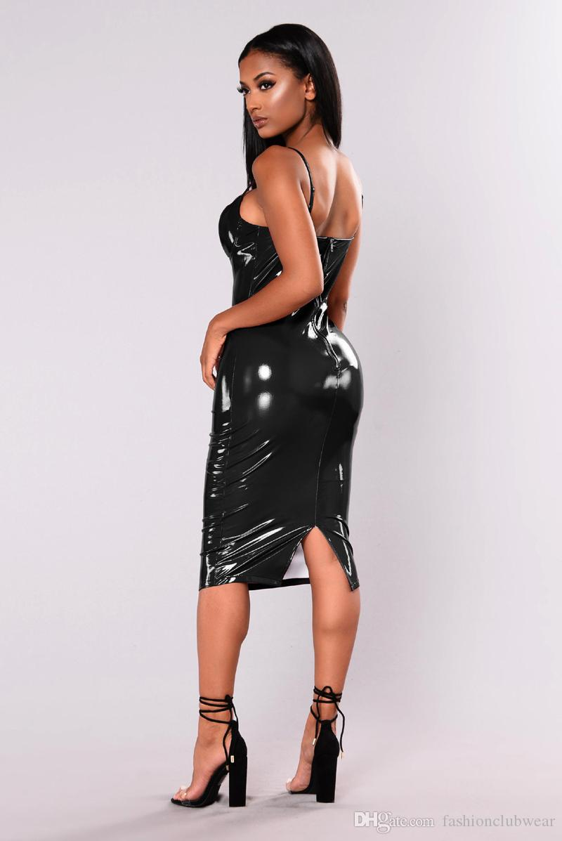 Plus Size New Sexy Women PVC Leather Bandage Dress Red Black Straps V-neck Knee Length Dress Bodycon Evening Party Dresses