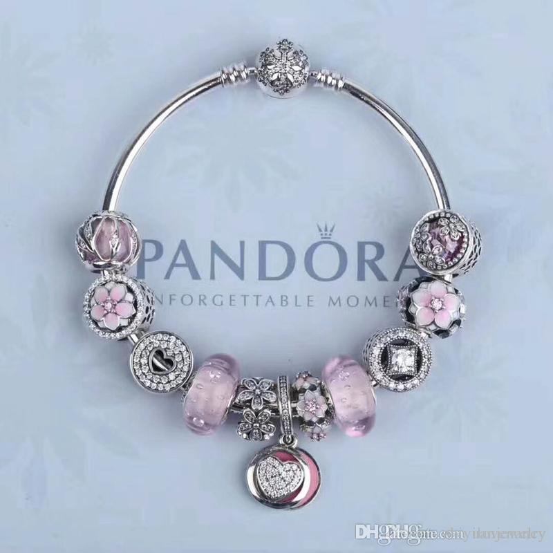 2018 luxury pandora bracelets for girl friend valentines day sterling silver 925 pandora jewelry full package gifts 9ct gold charm bracelet bracelet beads - Pandora Valentines Bracelet