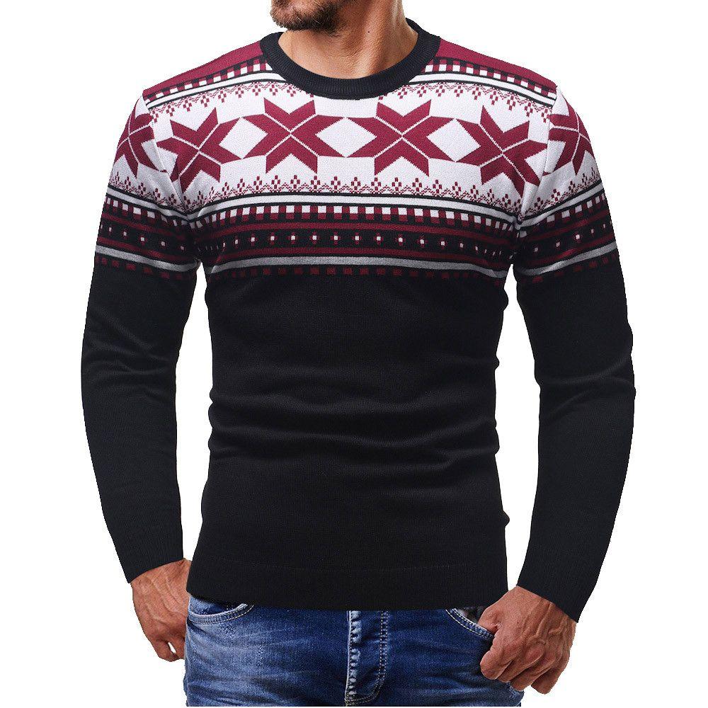 dcbe2f79877 Acheter 2018 Hommes Automne Hiver Pull De Noël Vêtements Tricoté O Cou Pulls  Complets Imprimer Mince Laine Chandail De Noël Mannen Trui 5 De  31.66 Du  ...