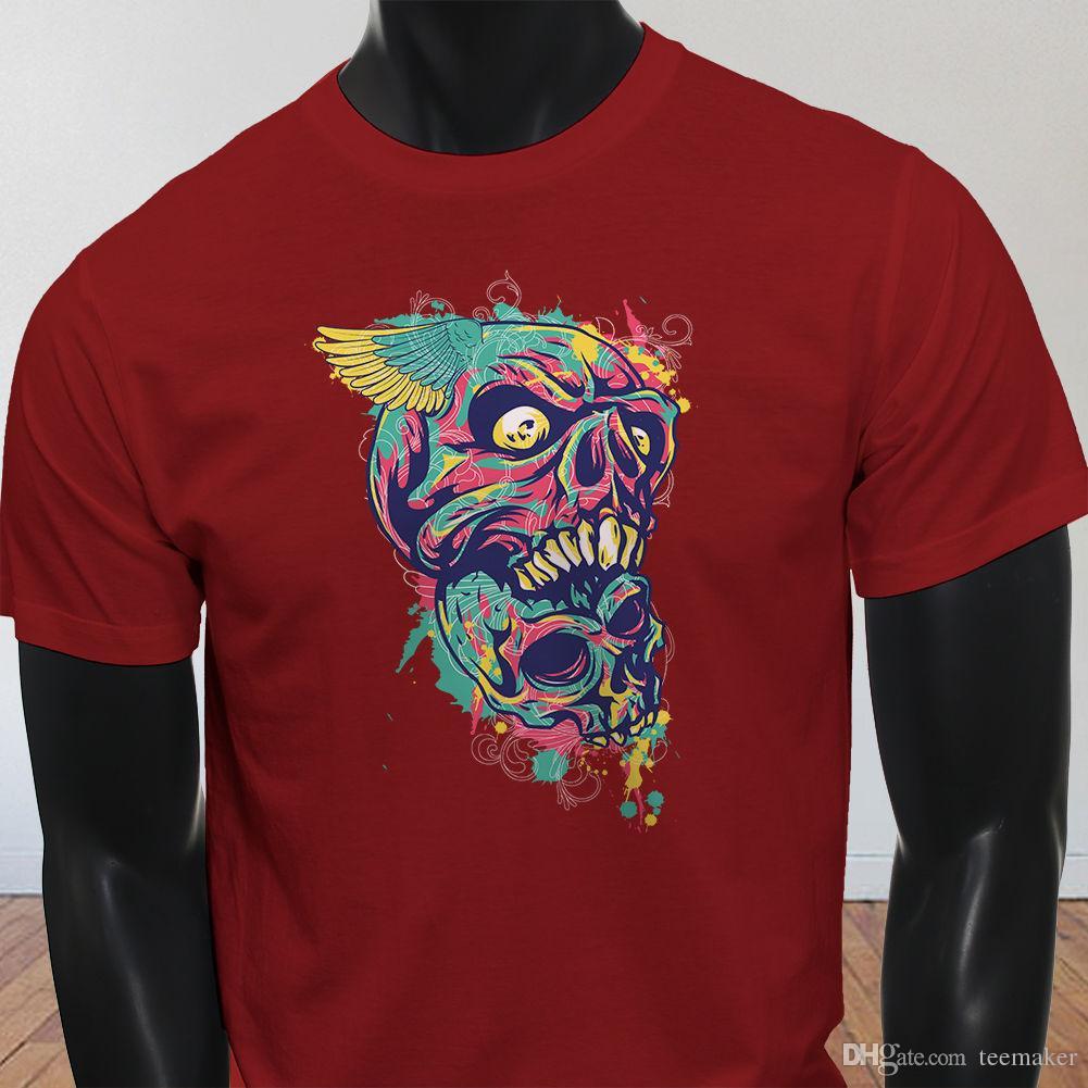 2178622c6f93 El Chapo Walking Dead Mouth Fear Trippy Graffiti Flying Skull Mens Red T  Shirt Tee Shirt Men'S Latest Design White Short Sleeve Custom 3XL C Awesome  T Shirt ...