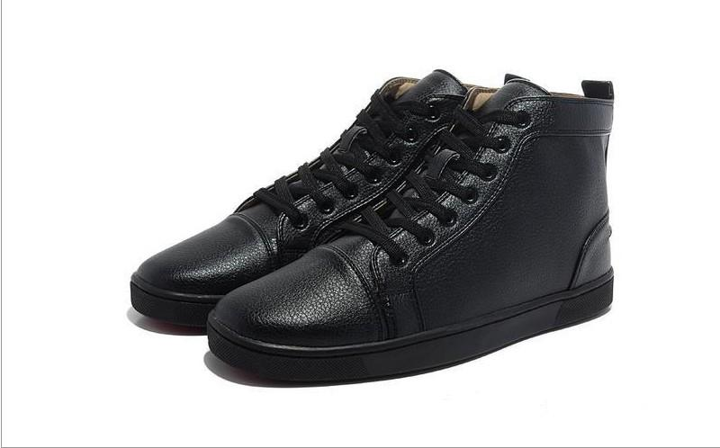mens womens black matter leather with black spikes high top sneakers,designer men causal sports shoes Drop shipping qj1392959