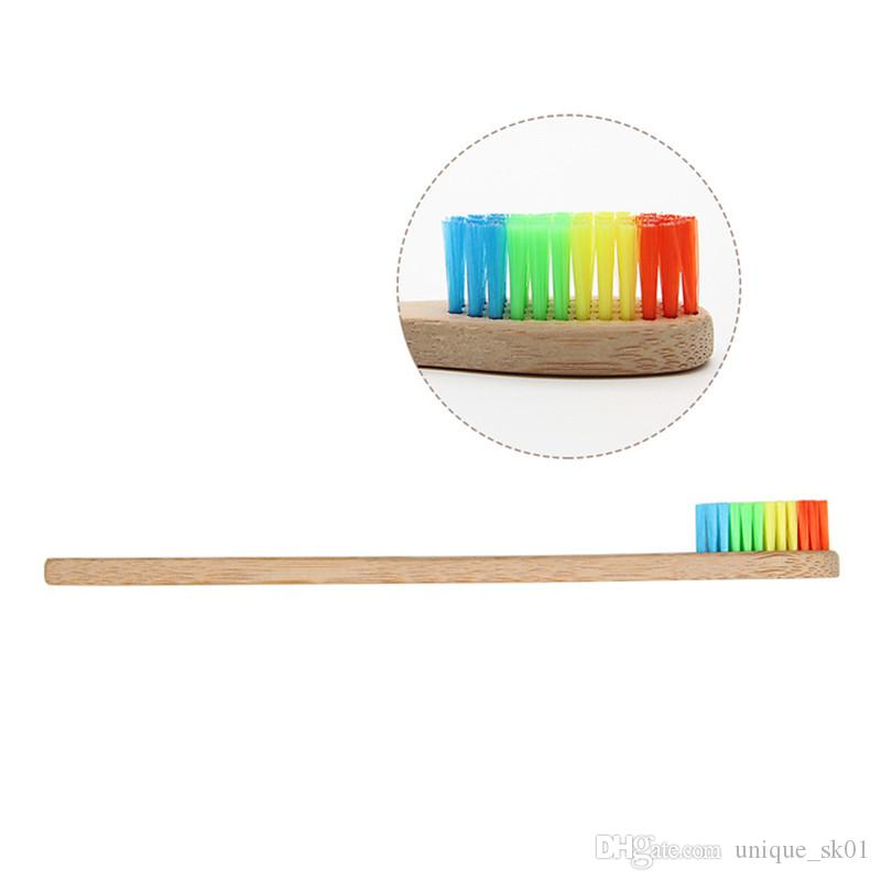 2018 Newest Rainbow Bamboo toothbrush Environmentally Wood Toothbrush Soft Bristle Head Bamboo handle Adult Oral Care tooth brush DHL Free