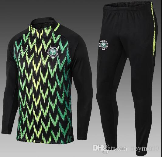 5b14e23e794 2018 World Cup Nigeria SOCCER JERSEY Training Suit 18 19 Chandal Nigeria  FOOTBALL Tracksuit Long Sleeve Kits Tracksuit Training Suit Online with   40.24 Set ...