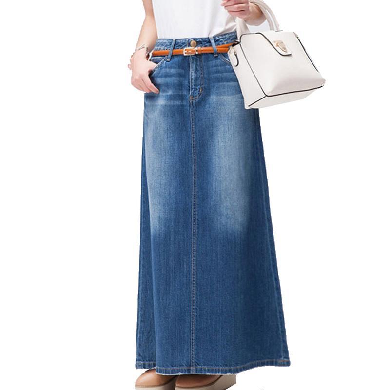 6d67893e8 Envío gratis 2018 nueva moda largo Casual Denim falda primavera A-line más  tamaño S-2XL largo faldas largas para mujeres Jeans faldas S916
