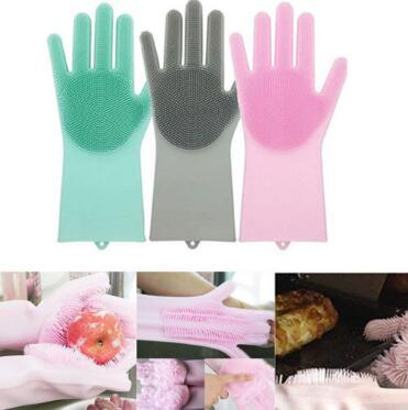 2pcs/pair Magic Silicone Dish Washing Gloves Eco-Friendly Scrubber Cleaning For Multipurpose Kitchen Bed Bathroom Hair Care CCA10439 12pair