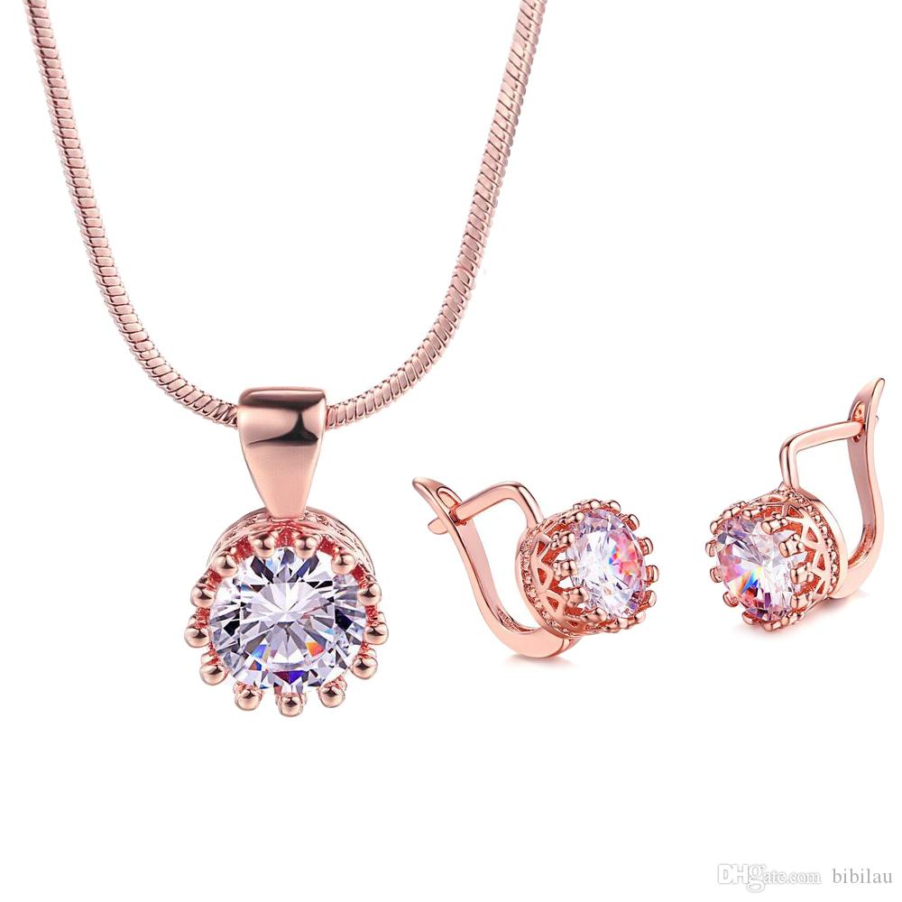 0ed26792f61 2019 232S Rose Gold Plated Single White Zircon Pendant Necklace And Earring  Jewelry Set Women Russian Gold High Quality No Allergic From Bibilau