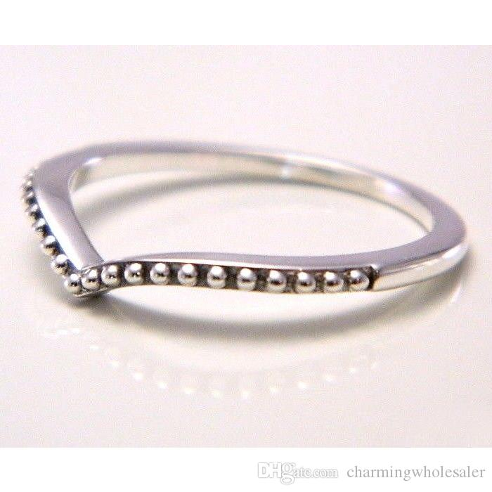 Beaded wish rings S925 silver fits for pandora style jewelry 196315 H8ale