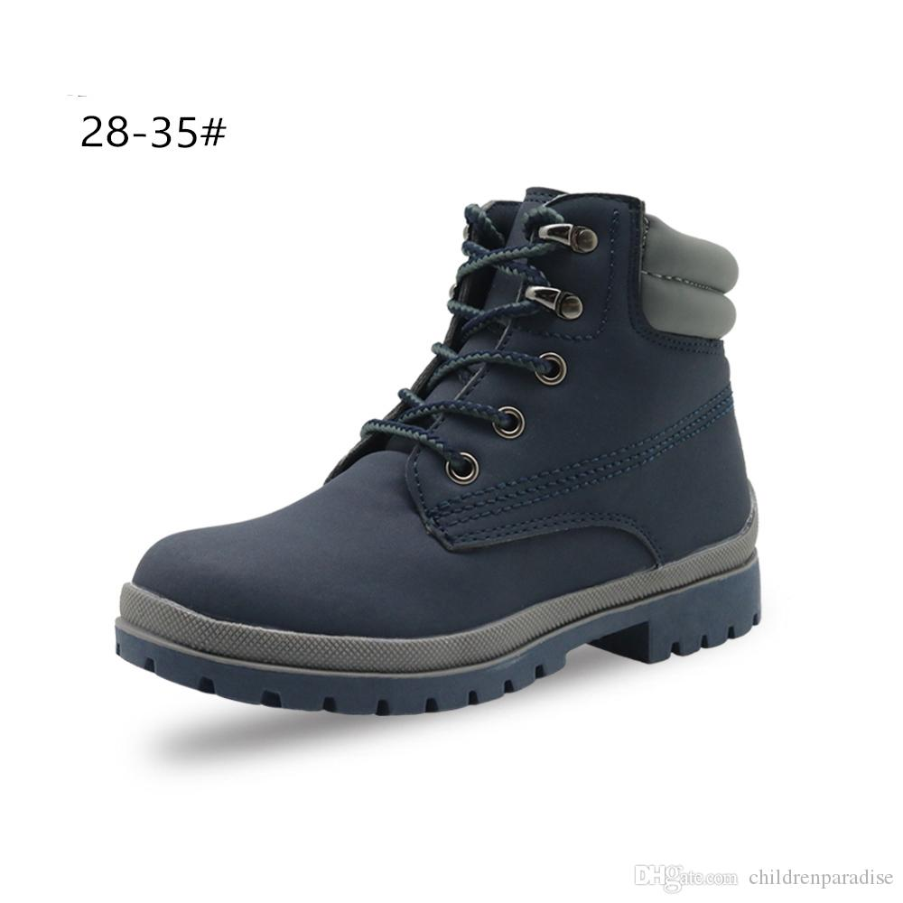 56d31c66d0d Apakowa Autumn Winter Boys Girls Classic Martin Boots Kids Lace-up Fashion  Motorcycle Ankle Boots Work Boots Children s Shoes