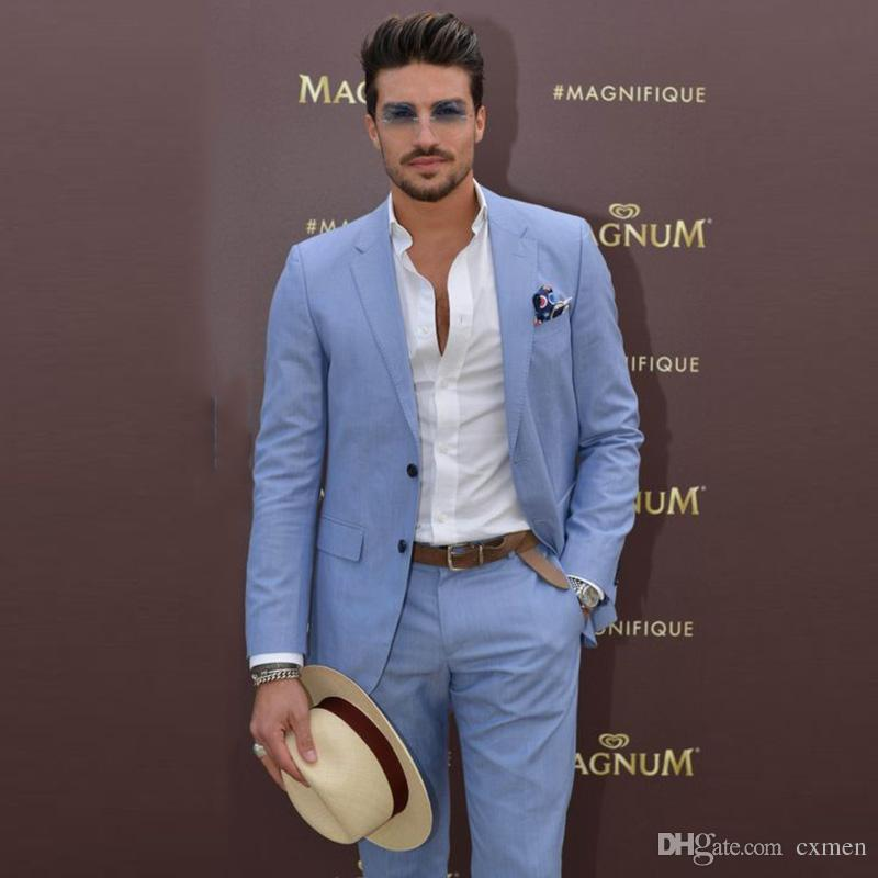 2018 Summer Blue Men Suits For Wedding Slim Fit Groom Tuxedos Casual
