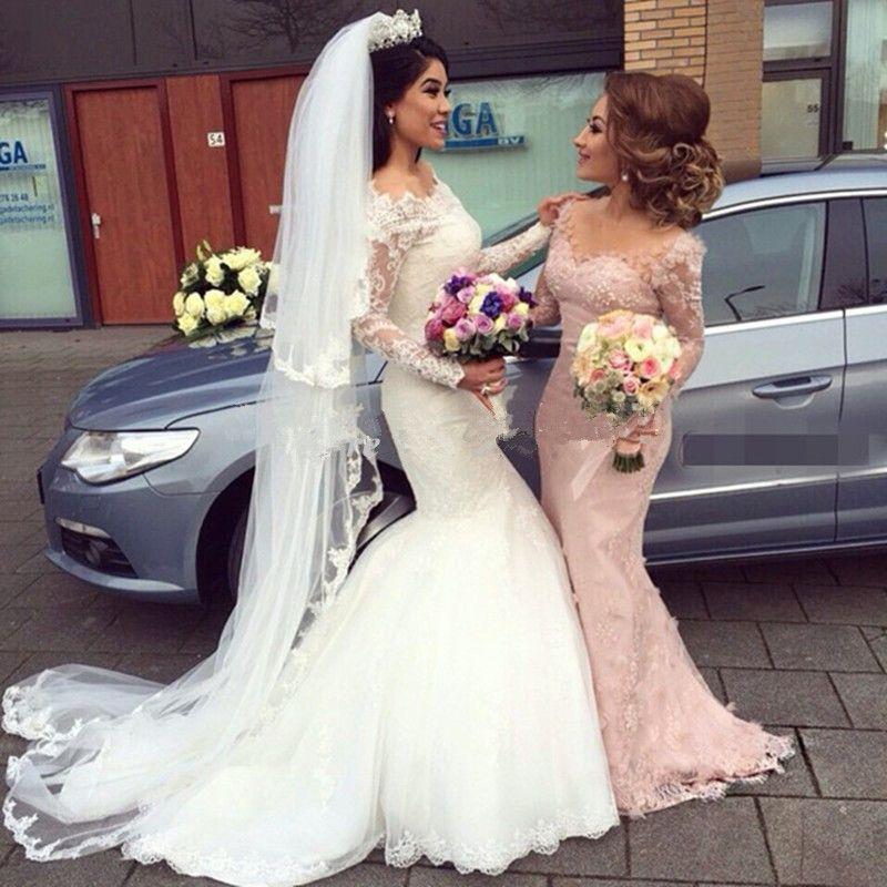 2018 Off The Shoulder Mermaid Abiti da sposa in pizzo maniche lunghe da sposa abiti da sposa collo della barca abiti da noiva