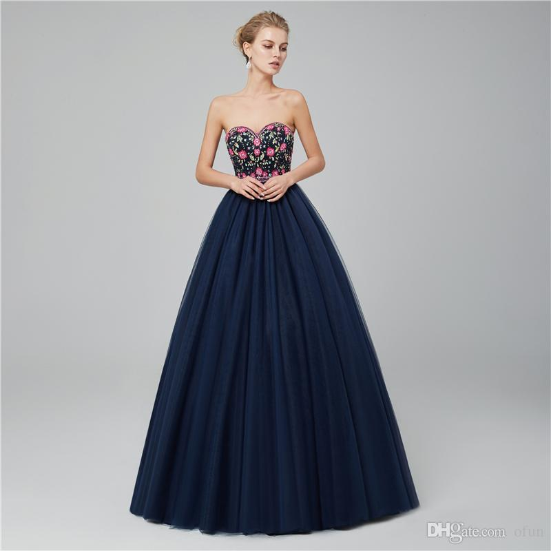 Elegant Embroidered Strapless Prom Dress Evening Dresses Sweetheart