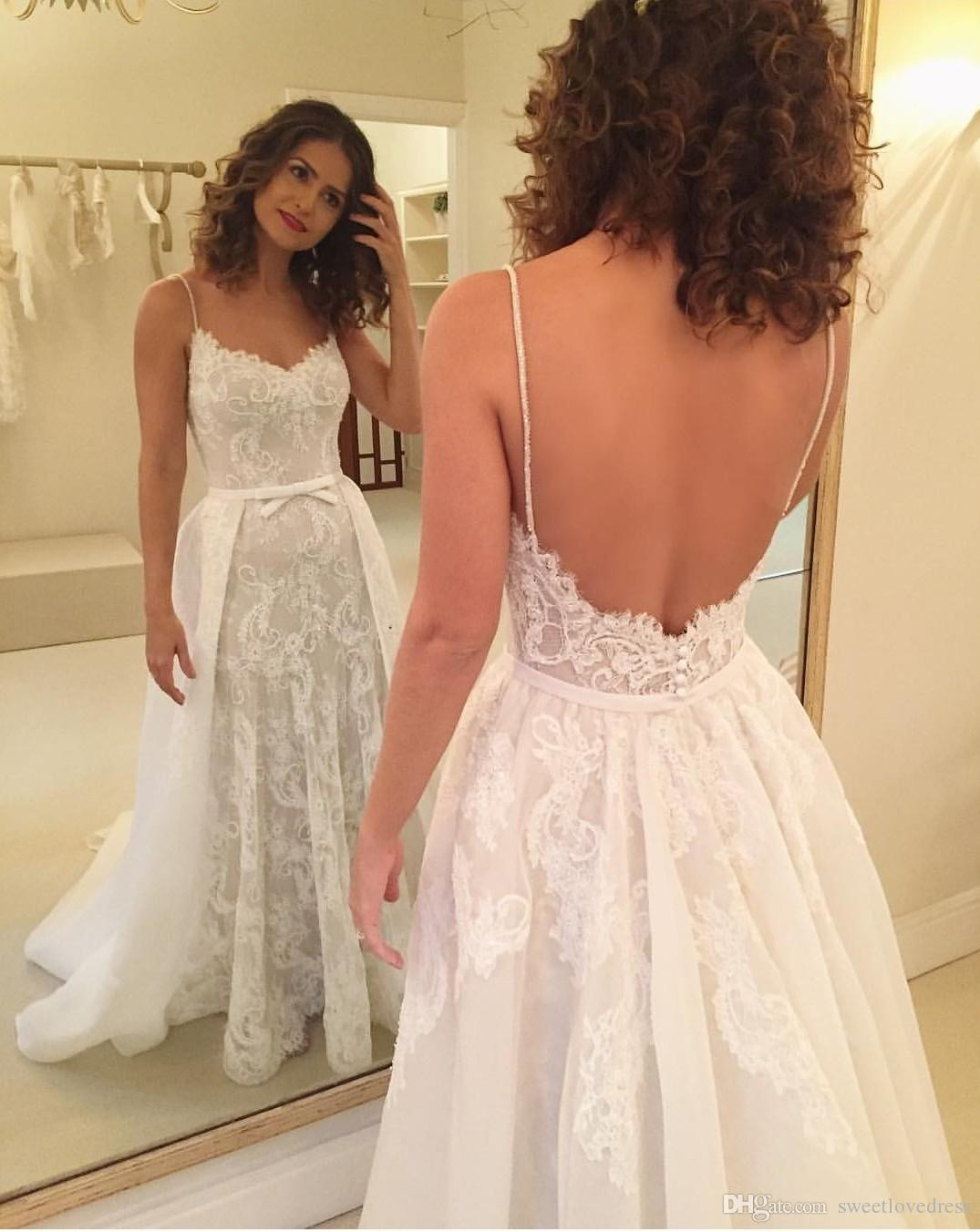 2018 Vintage vestido de novia de encaje con sobrefalda Sexy espaguetis apliques desmontables sin respaldo vestidos de novia por encargo