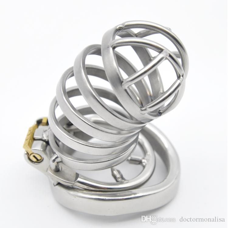 Male Long Stainless Steel Chastity Cage Men's Metal Large Locking Belt Device Barbed Spike Ring Hot Selling Sexy Toys DoctorMonalisa CC106