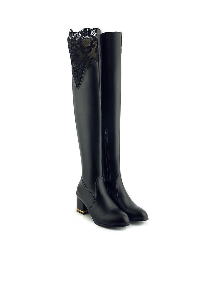 femmes hauts Lacets épais le genou hautes longues talon à bottes noir 6cm blanc sur talons pour bottes 5j4R3AL