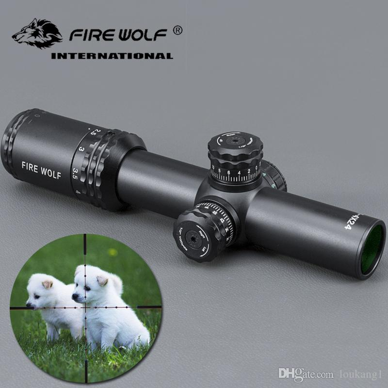 FRIE WOLF New Silver 1-4X24 Riflescopes Rifle Scope Hunting Scope w/ Mounts  for Hunting Rifle Scope Mounts For Airsoft Sniper Rifle
