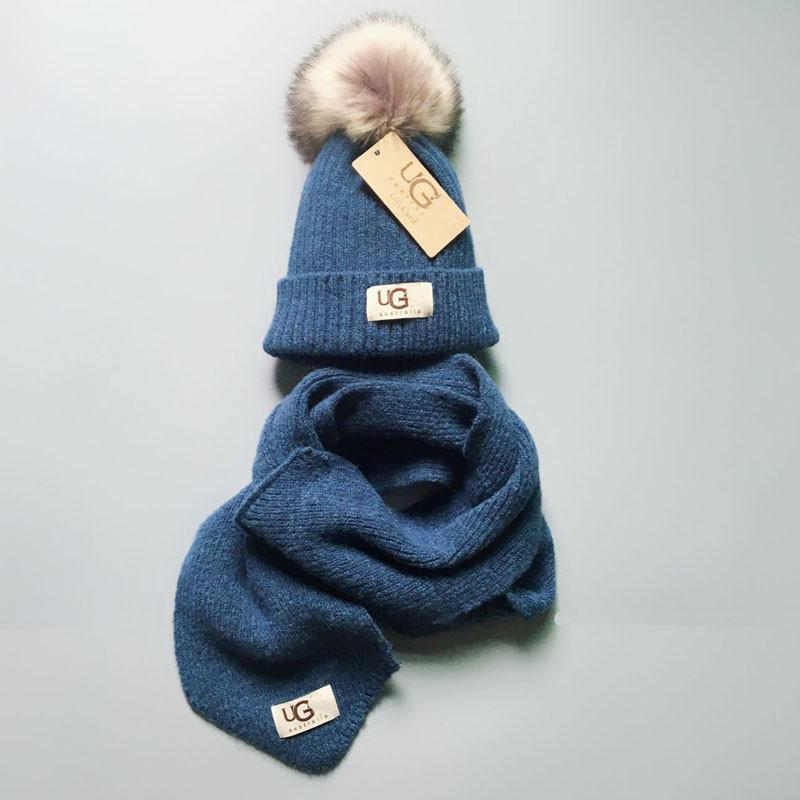 84cc970313d UG Baby Kids Beanies Fur Pom Hat Scarf Set Luxury Brand Winter Warm ...
