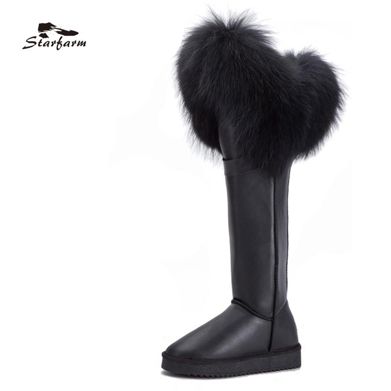 STARFARM Shoes Women Winter Snow Boots Genuine Leather Ladies Real Fur Boots  Knee High Flat Wedge Cow Suede Woman Cute Shoes Boots From Aiyin 7c542da581cc