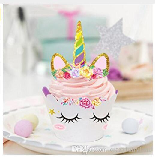 Unicorn Cake Toppers Cupcake Wrappers Birthday Party Decoration Baby Shower Supplies Set DHL Favors Items From