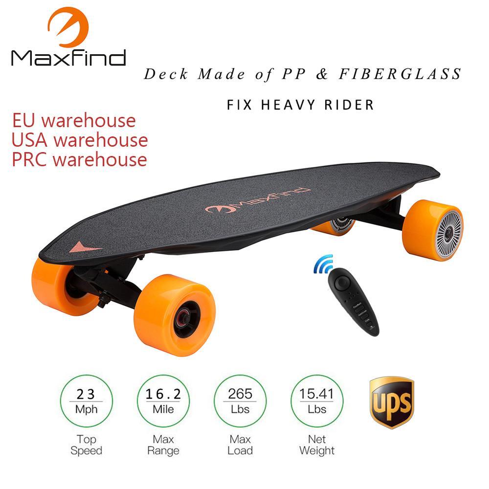 8f88e7109b6 Compre Maxfind Max2 Longboard Skate Elétrico 23MPH Quatro Rodas 1000 W   2  Motor Duplo Com Controlador Remoto Sem Fio Scooter Hoverboad De Booket
