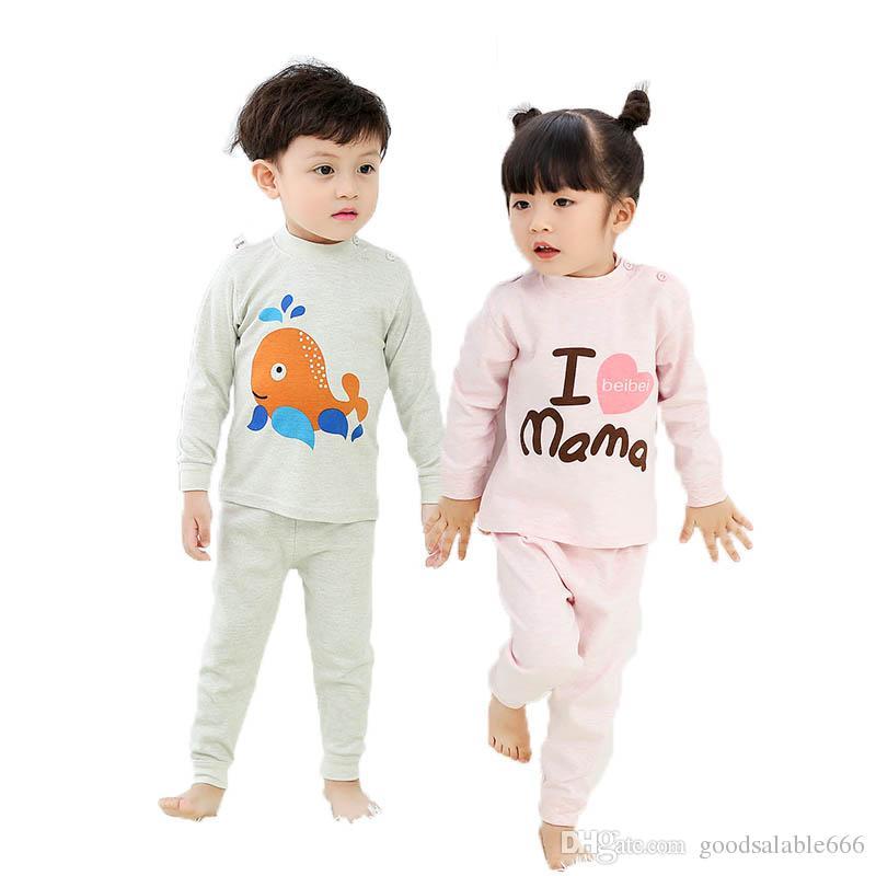 c2dbdd147 Kids Cotton Pajamas Suits Children Autumn Children Sleepwear Set For ...